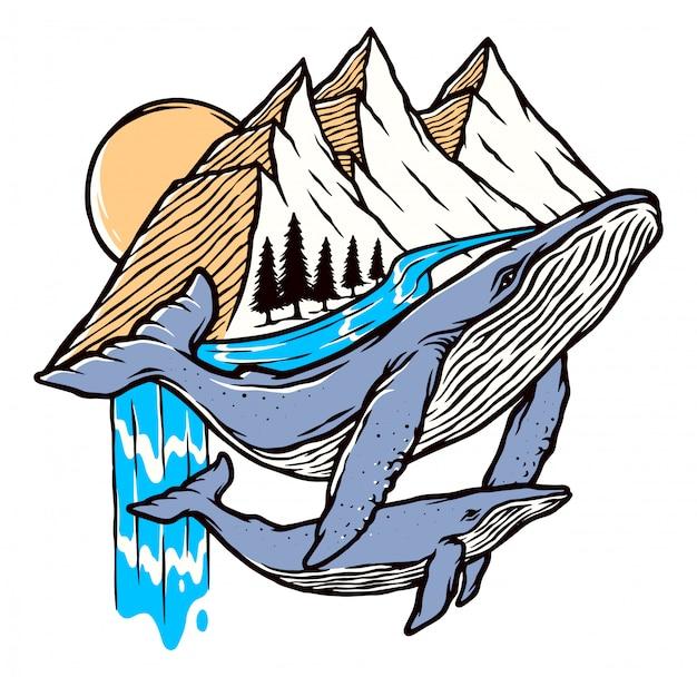Ilustração de baleia e montanha