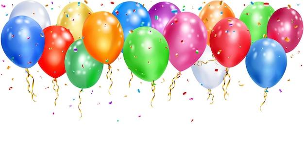 Ilustração de balões coloridos com fitas e pedaços brilhantes de serpentina em branco