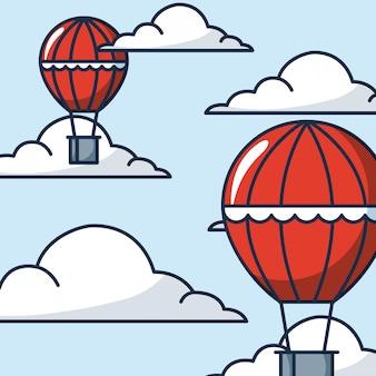 Ilustração de balões de ar quente