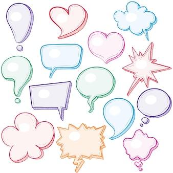 Ilustração de balões de fala desenhados à mão