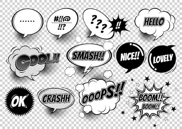 Ilustração de balões de fala em quadrinhos