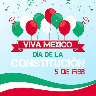 Ilustração de balões planos no dia da constituição do méxico