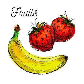 Ilustração de bananas e morangos frescos