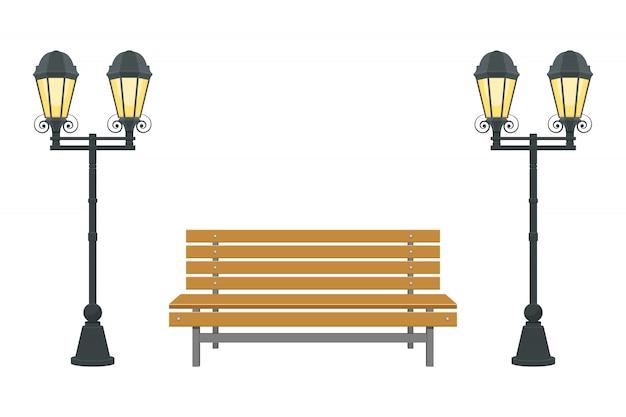 Ilustração de banco de parque isolada no fundo branco