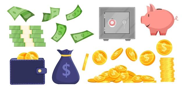 Ilustração de banco vetorial economizando dinheiro definida com moedas, saco de dinheiro, cofrinho, carteira, cofre seguro, notas de dólar.