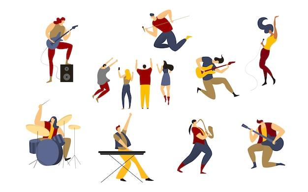 Ilustração de banda de rock, roqueiro dos desenhos animados, cantor estrela homem mulher no palco da música concerto ao vivo festa conjunto isolado no branco