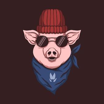 Ilustração de bandana cabeça de porco