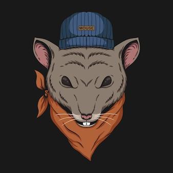Ilustração de bandana de cabeça de rato