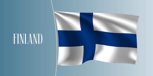 Ilustração de bandeira de ondulação da finlândia