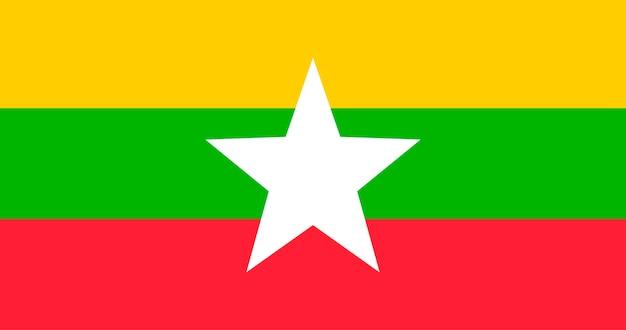 Ilustração, de, bandeira mianmar