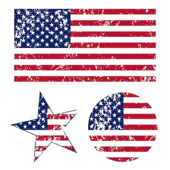 Ilustração de bandeiras americanas de grunge