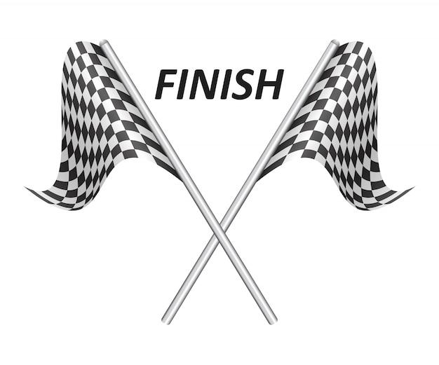 Ilustração de bandeiras de corrida isolada no branco