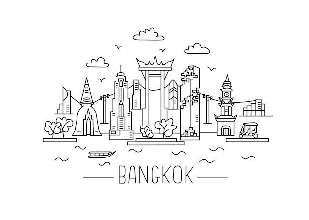 Ilustração de bangkok lineart desenho de linha de bangkok estilo moderno ilustração da cidade de bangkok desenho à mão