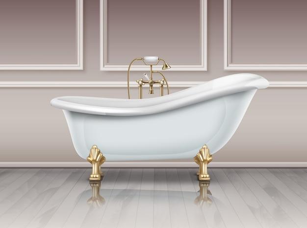 Ilustração de banheira branca em estilo vintage com pé de garra de ouro. banho no chão, no fundo da parede marrom.