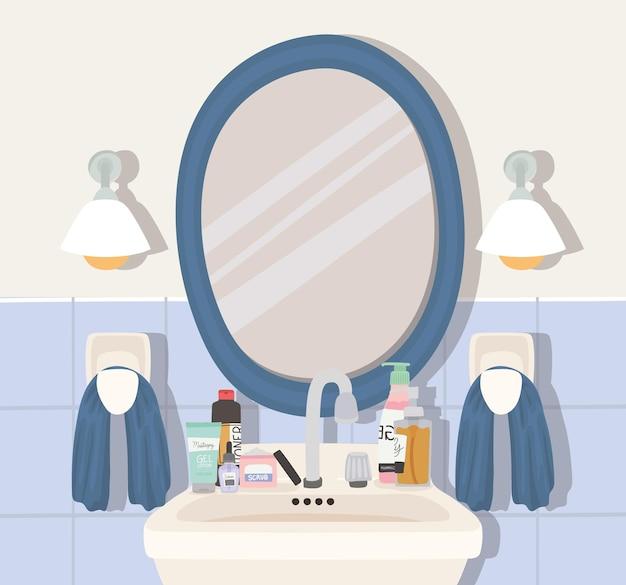 Ilustração de banheiro com conjunto de produtos para a pele