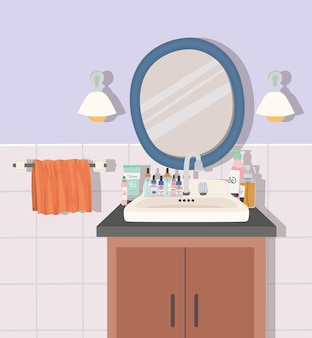 Ilustração de banheiro com espelho e produtos para a pele
