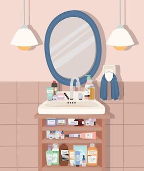 Ilustração de banheiro com grupo de produtos para a pele