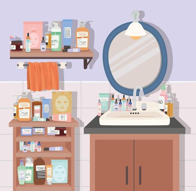 Ilustração de banheiro com pacote de produtos para a pele