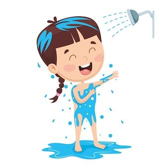 Ilustração de banho de criança