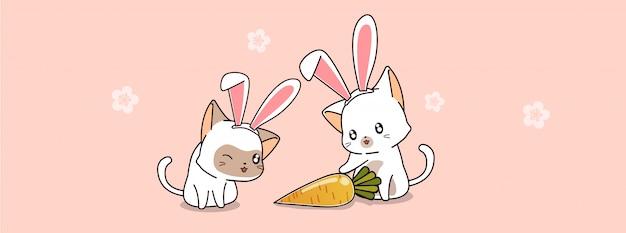 Ilustração de banner coelho gatos e cenoura