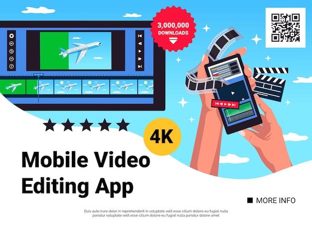 Ilustração de banner da web do aplicativo de edição de vídeo móvel