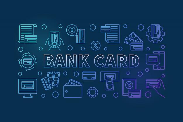 Ilustração de banner de contorno azul de cartão de banco