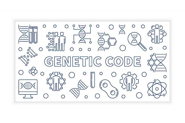 Ilustração de banner de contorno moderno de código genético