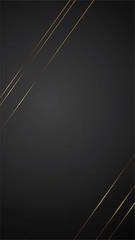 Ilustração de banner de fundo preto luxo com design de linha de arte deco de tira de ouro