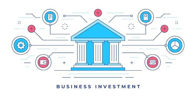 Ilustração de banner de linha plana com ícones gráficos em torno do prédio do banco projetado