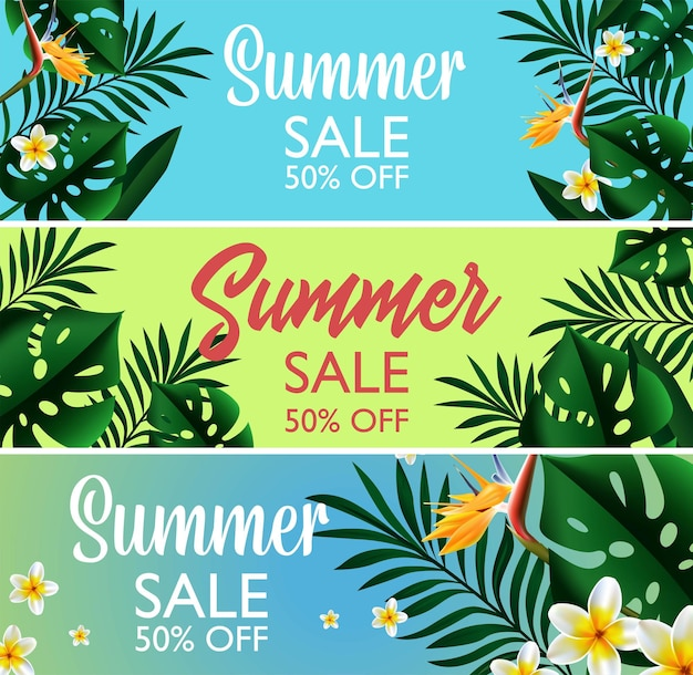 Ilustração de banner de modelo de design tropical em promoção de verão