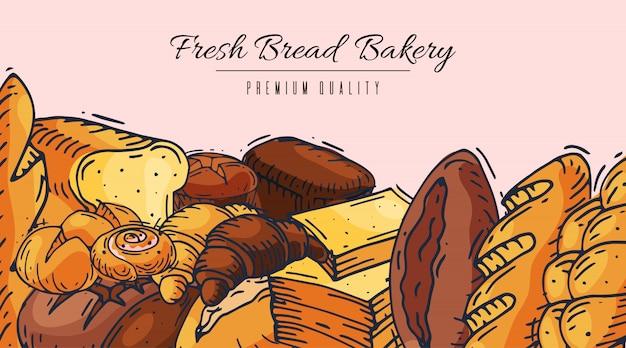 Ilustração de banner de padaria de pão fresco.