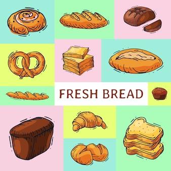 Ilustração de banner de pão de pão fresco.