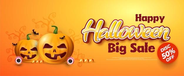 Ilustração de banner de venda de halloween realista, ilustração vetorial de vista superior.