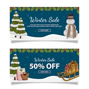Ilustração de banner de venda de inverno