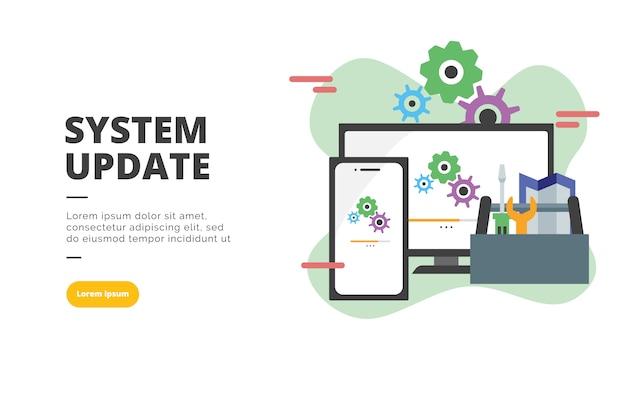 Ilustração de banner design plano de atualização de sistema