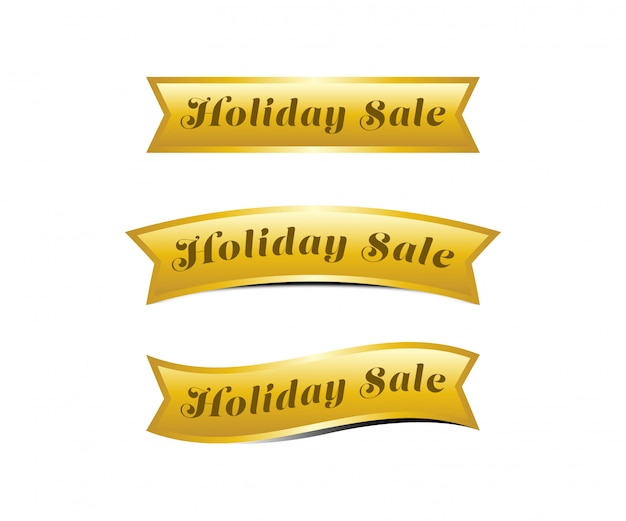 Ilustração de banner do feriado venda fita ouro.