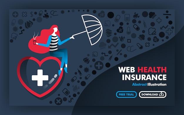 Ilustração de banner do seguro de saúde da web