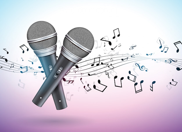 Ilustração de banner em um tema musical com microfones e notas caindo