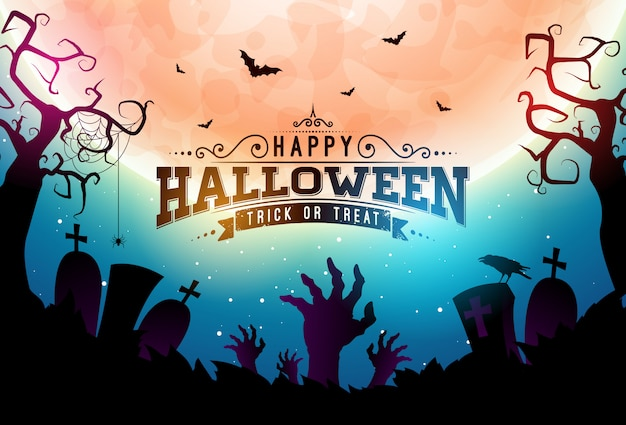 Ilustração de banner feliz dia das bruxas com lua