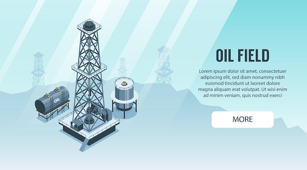 Ilustração de banner horizontal da indústria de petróleo isométrica
