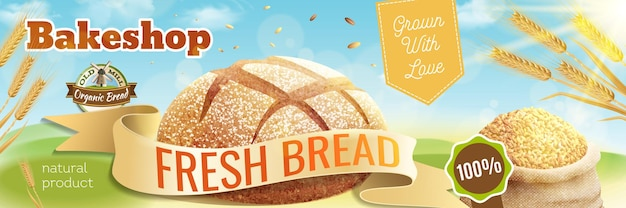 Ilustração de banner horizontal de pão realista