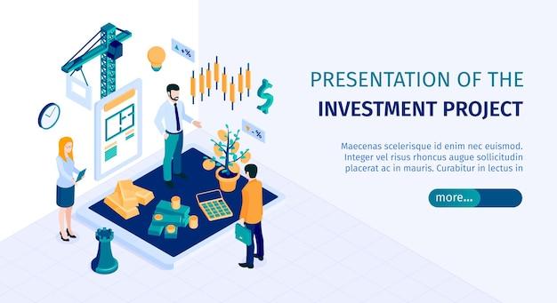Ilustração de banner web isométrica horizontal de decisões de investimento
