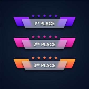 Ilustração de banners coloridos de classificação de jogos