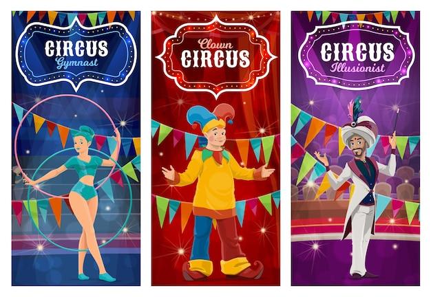 Ilustração de banners de artistas de circo