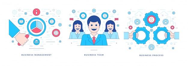 Ilustração de banners de linha plana com negócios de sucesso