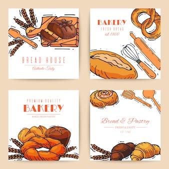 Ilustração de banners de pão de pão fresco.