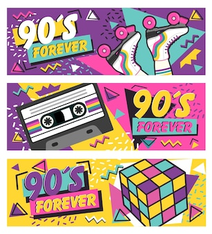 Ilustração de banners dos anos 90 com patins, cubo de rubik e cassetes