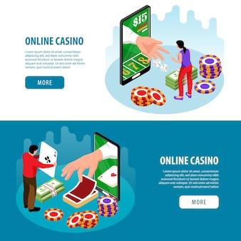 Ilustração de banners horizontais de cassino online isométrico