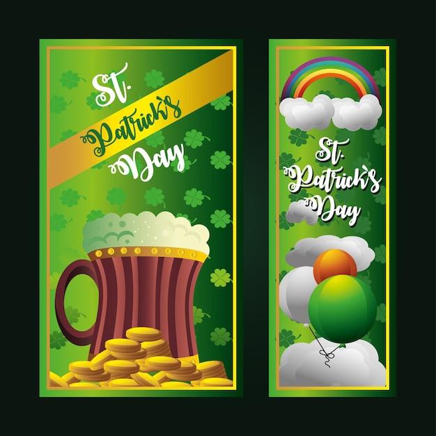 Ilustração de banners verdes de balões de moedas de cerveja do dia de são patrício