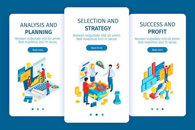 Ilustração de banners verticais de tela para celular de investimento de sucesso